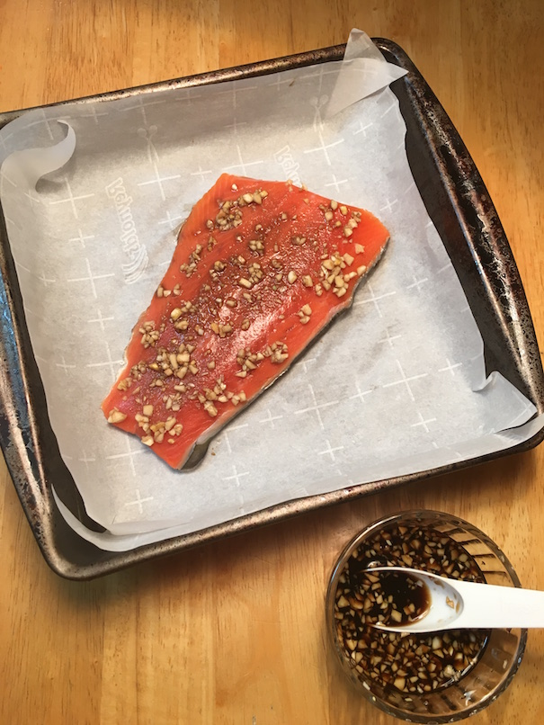 Salmon ready to go in the oven.