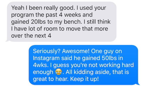 Another thank you I receieved from users who tried my workout